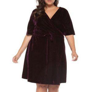 Stunning Burgundy Purple Velvet Midi Wrap Dress 1X